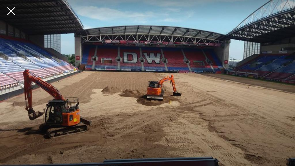 Wigan Athletics Pitch – Removal & Relaying